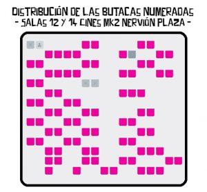 Distribución de las butacas numeradas - Salas 12 y 14 Cines mk2